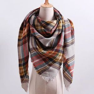 Fall plaid triangle cashmere acrylic scarf